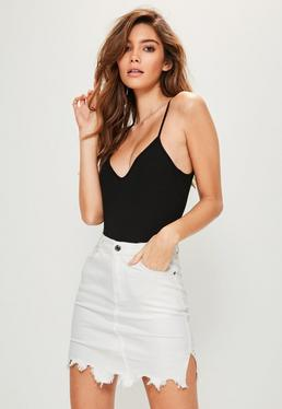 White Raw Hem Mini Denim Skirt