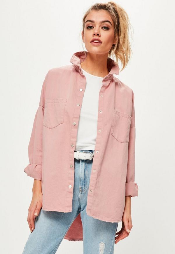 Pink Slogan Back Oversized Denim Shirt | Missguided