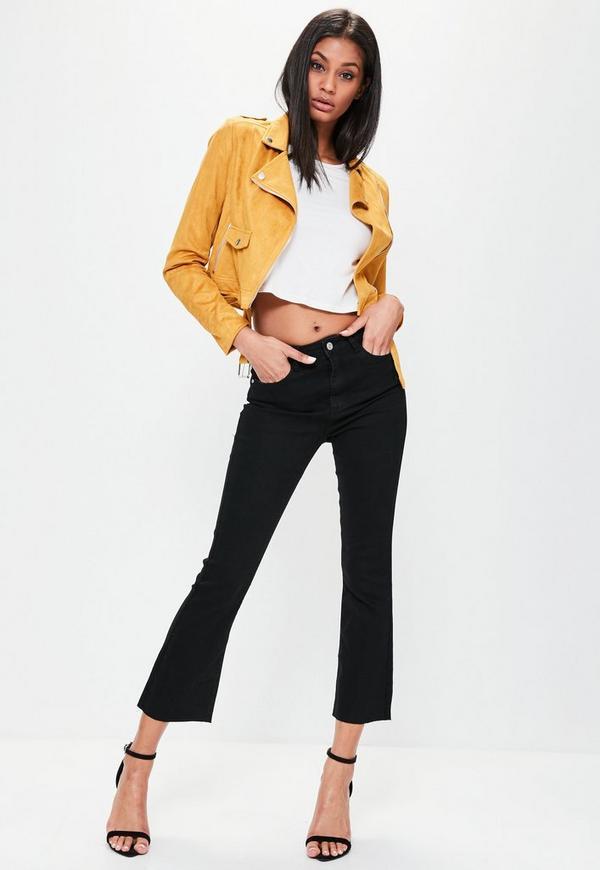 Black High Rise Crop Kick Flare Skinny Jeans