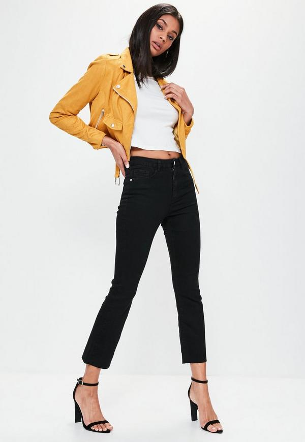 Black High Rise Crop Kick Flare Skinny Jeans   Missguided