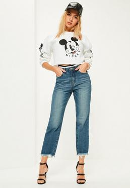 Niebieskie proste jeansy z wysokim stanem i postrzępionymi nogawkami