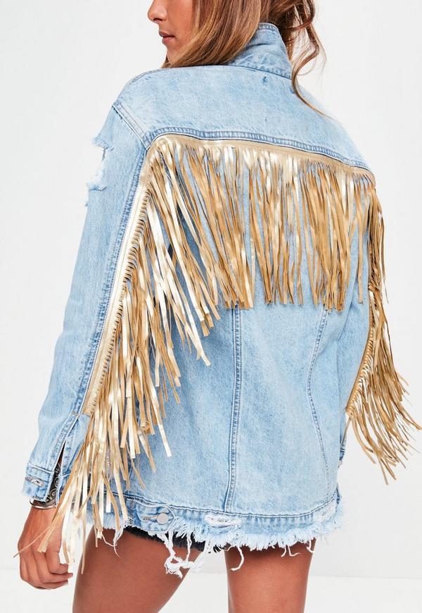 Blue Ripped Gold Fringe Denim Jacket Missguided
