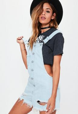 Blue Fray Hem Button Up Dungarees