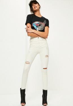 Jeans skinny crème taille haute style destroy