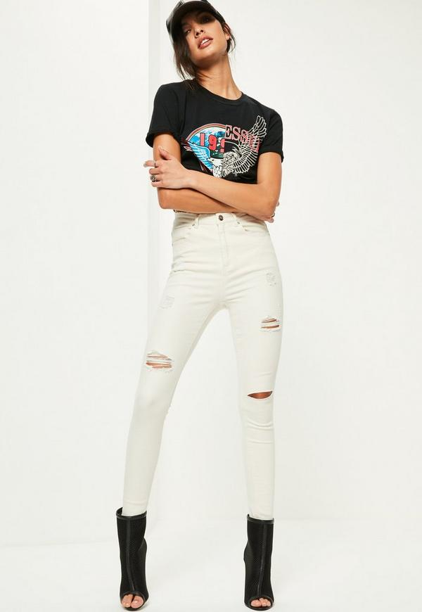 White Sinner High Waisted Ripped Skinny Jeans