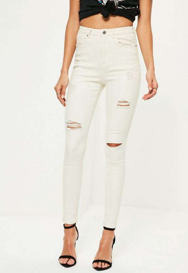 White Sinner High Waisted Ripped Skinny Jeans   Missguided