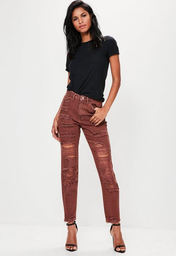 Brown Riot High Rise Extreme Ripped Mom Jeans