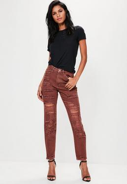 Riot Hohe Mom Jeans mit Extrem-Rissen in Braun