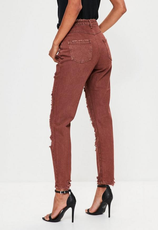 Brown Riot High Rise Extreme Ripped Mom Jeans | Missguided
