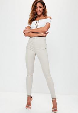 Szare jeansy Vice ze streczem z wysokim stanem