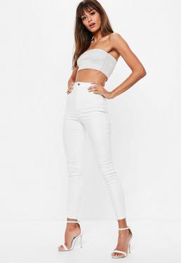 Białe elastyczne spodnie jeansowe Vice