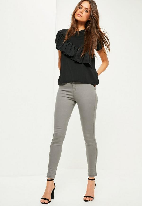 Grey Vice High Waisted Superstretch Skinny Jeans