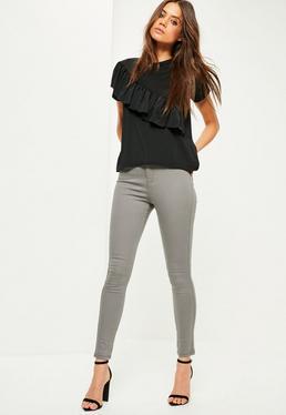 Pantalones Vaqueros Skinny de Cintura Alta en Gris