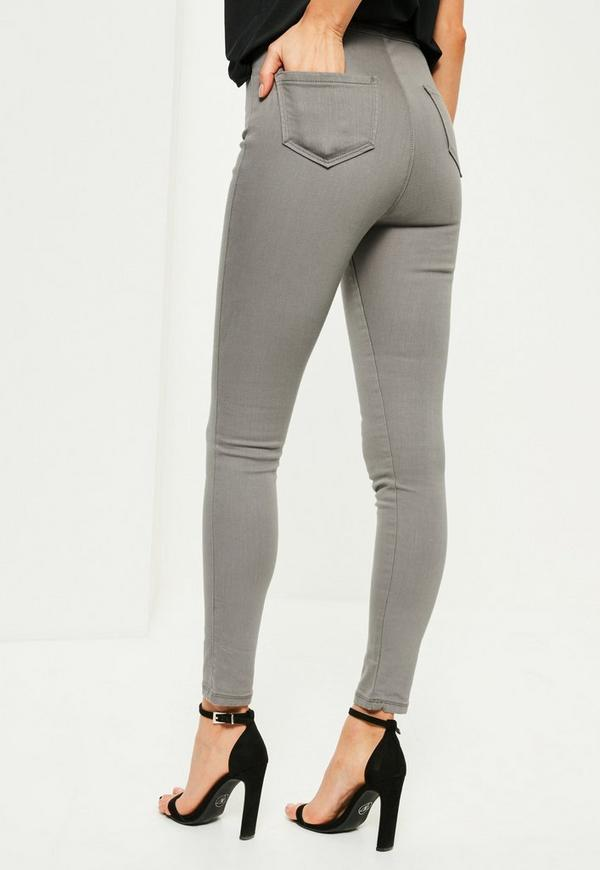 Grey Vice High Waisted Superstretch Skinny Jeans | Missguided