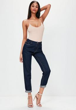 Navy Riot High Rise Mom Jeans