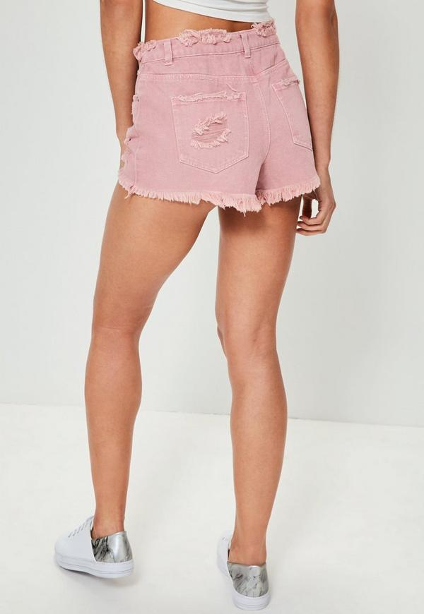 Pink Sinner High Waisted Ripped Denim Shorts | Missguided