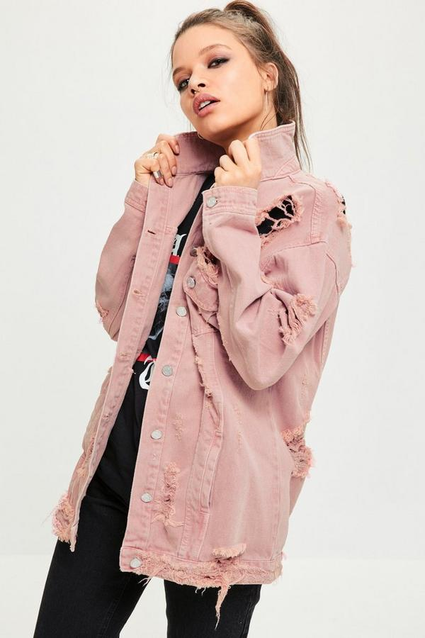 Pink Washed Ripped Denim Shacket
