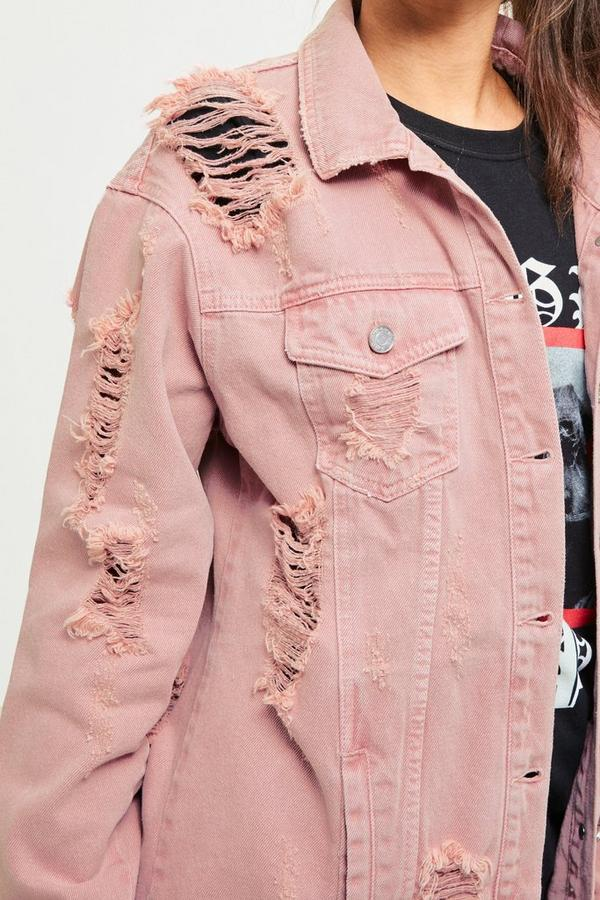 Pink Washed Ripped Denim Shacket Missguided