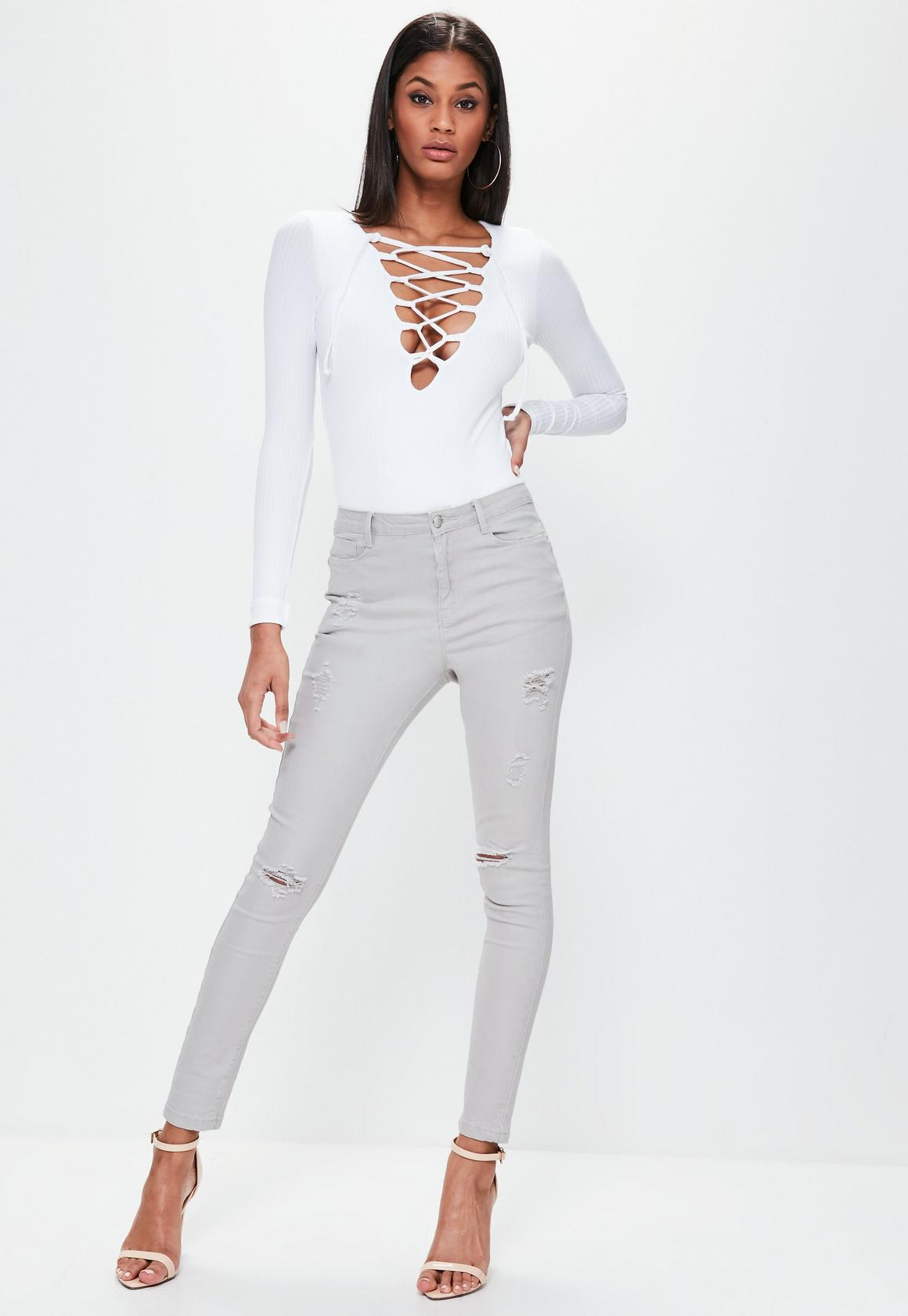 Grey Sinner High Waisted Ripped Skinny Jeans   Missguided