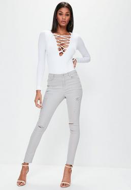 Grey Sinner High Waisted Ripped Skinny Jeans