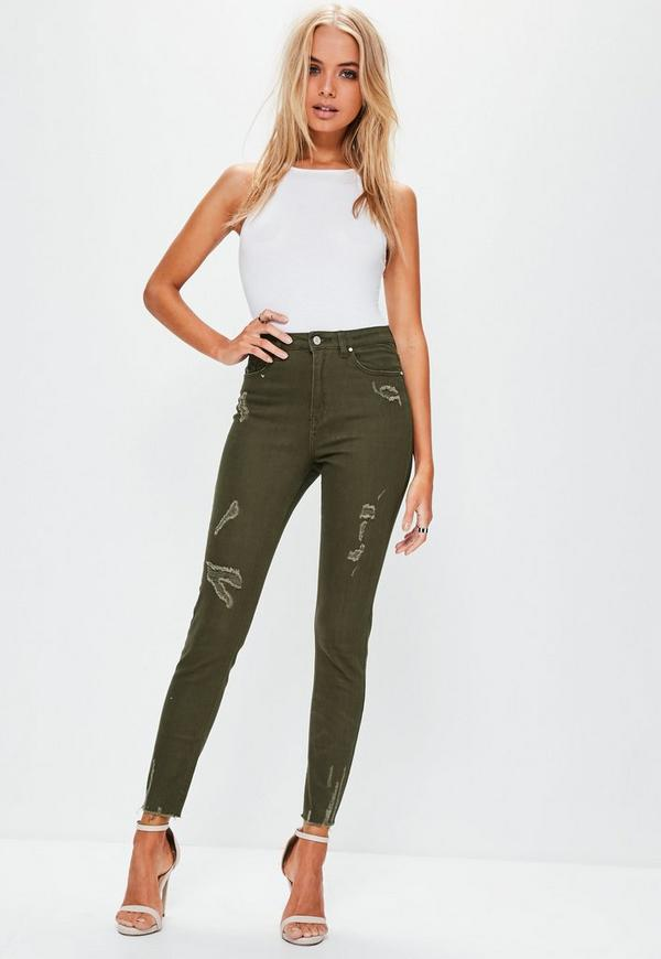 Khaki Sinner High Waisted Ripped Skinny Jeans