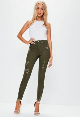 Sinner High-Waist Fetzen Skinny-Jeans in Khaki