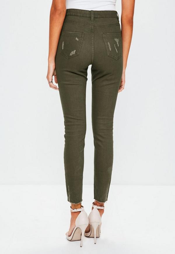Khaki Sinner High Waisted Ripped Skinny Jeans - Missguided