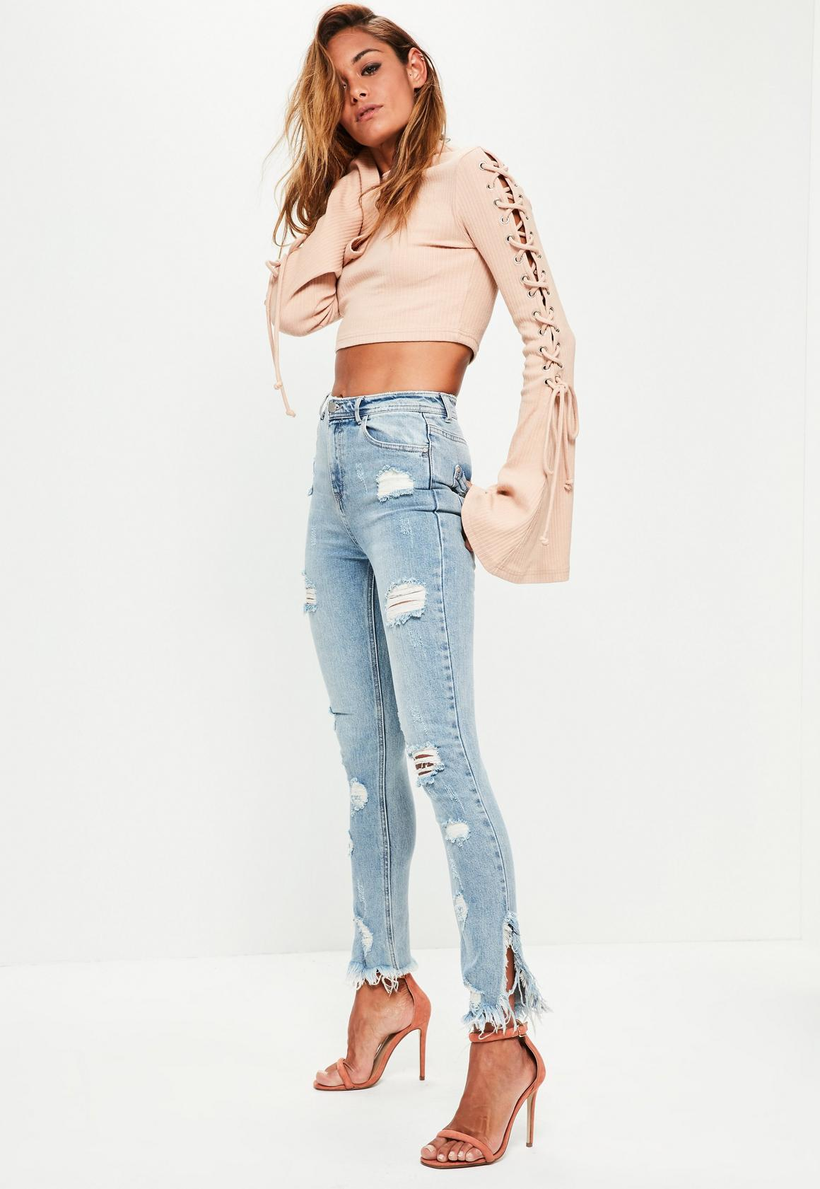 Blue Sinner Highwaisted Ripped Skinny Jeans| Missguided