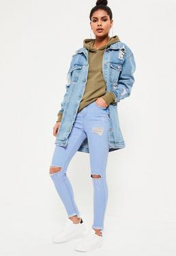 Blue Sinner Highwaisted Stepped Hem Skinny Jeans