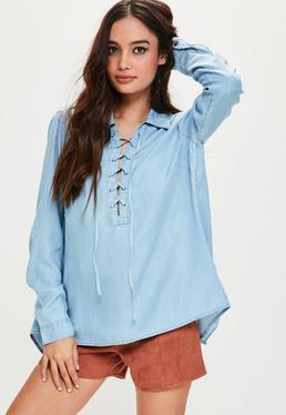 Lace-Up Jeans-Hemd mit geschlitztem Rücken in Blau