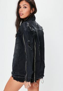 Black Zip Detail Denim Jacket