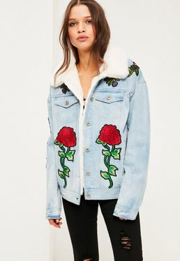 Blue Denim Faux Fur Lined Jacket