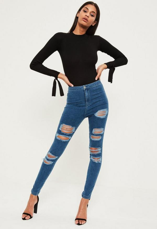 Blue Vice High Waisted Ripped Jeans
