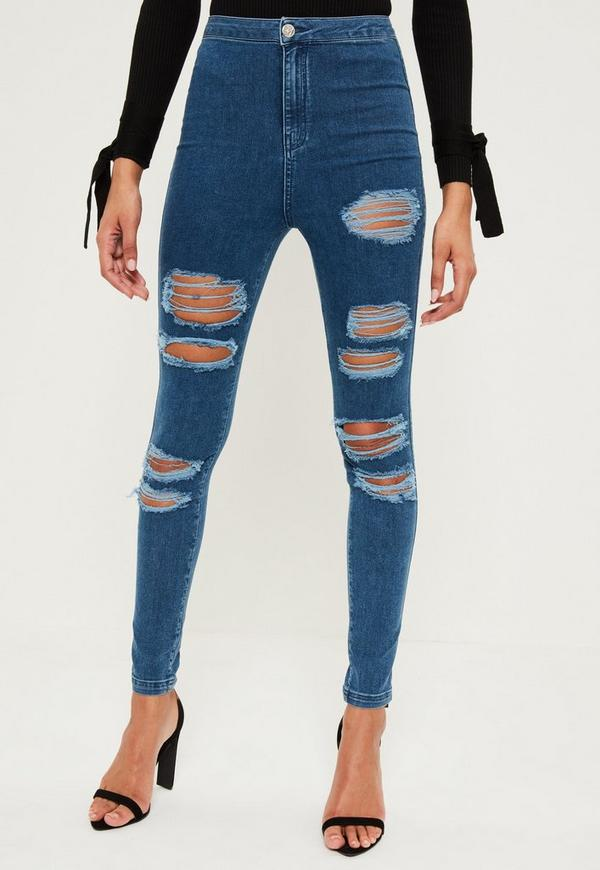High waist ripped jeans h&m
