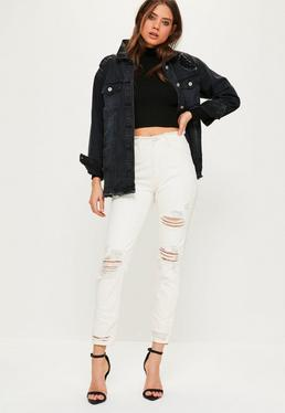 White Riot High Waisted Ripped Mom Jeans