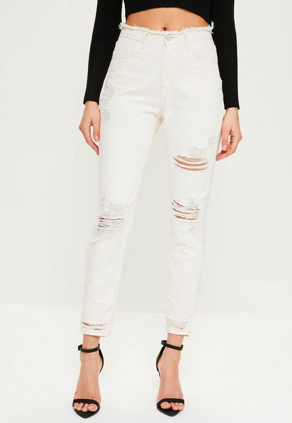 Previous Next - White Riot High Waisted Ripped Mom Jeans Missguided