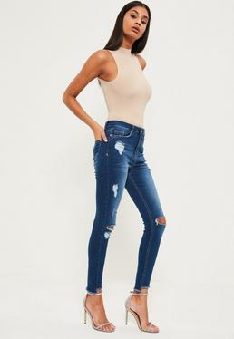 Blue Sinner High Waisted Stepped Hem Rip Skinny Jeans