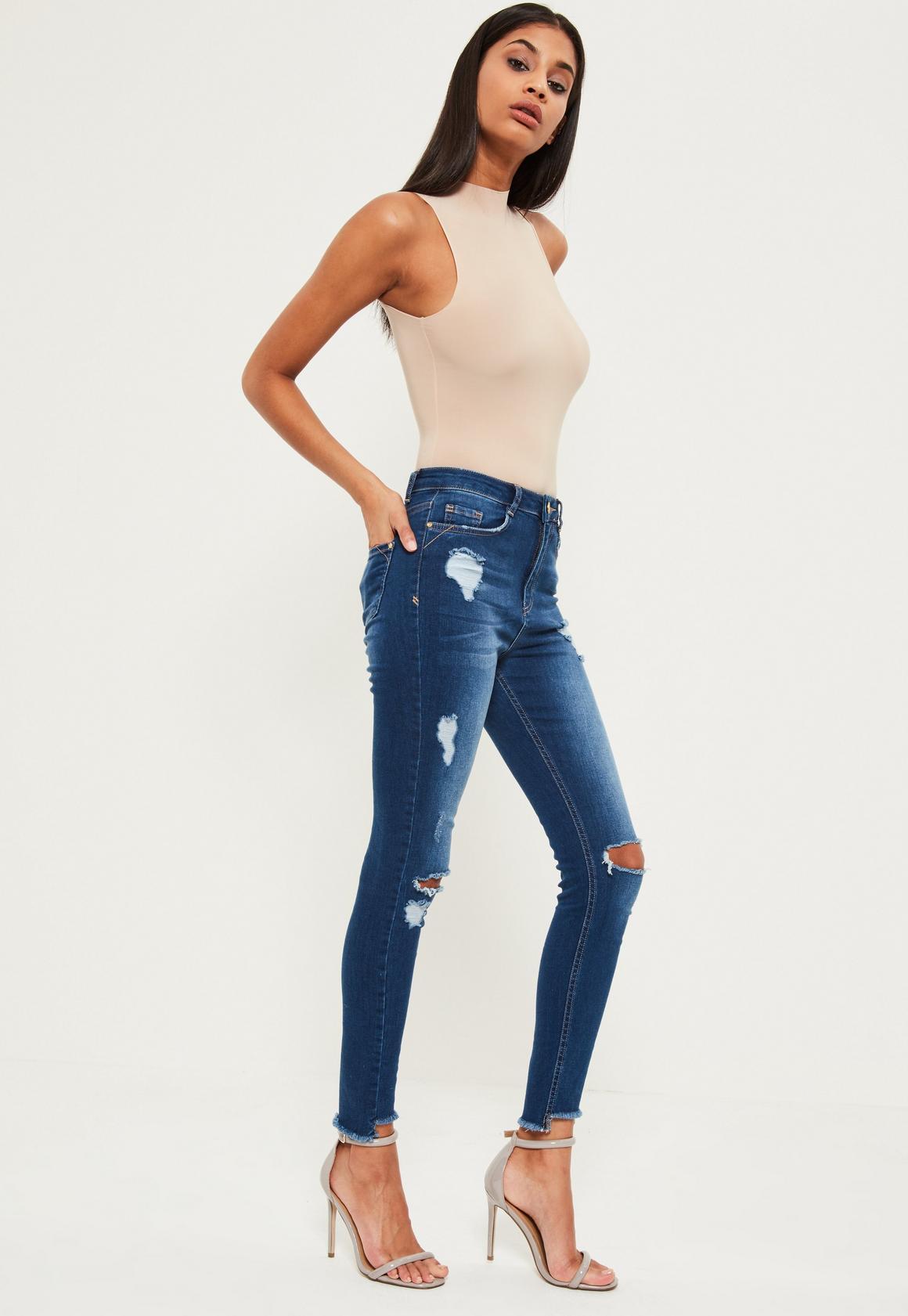 Blue Sinner High Waisted Stepped Hem Rip Skinny Jeans | Missguided
