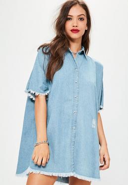 Blue Oversized Denim Shirt Dress