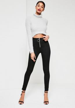 Black Vice High Waisted Zip Front Skinny Jeans