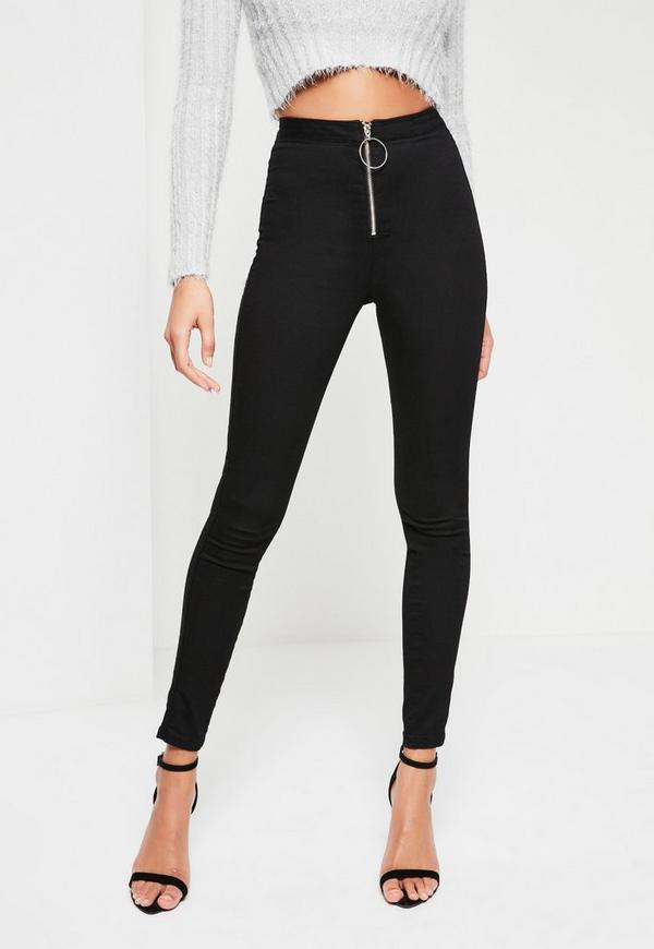 Black Vice High Waisted Zip Front Skinny Jeans | Missguided