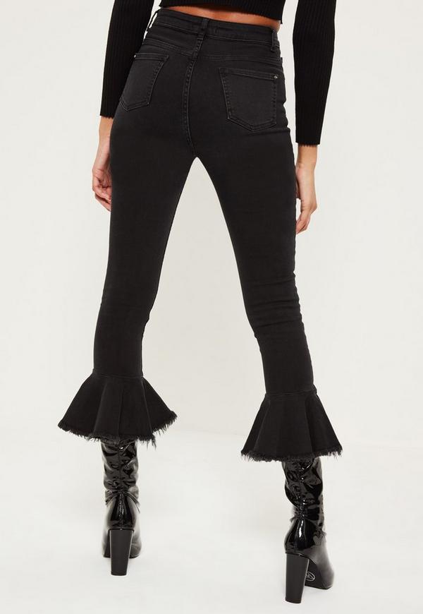 Black Premium Sinner High Waisted Frill Hem Flare Jeans | Missguided