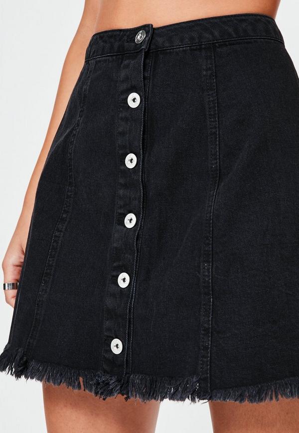 Black A Line Destroyed Hem Denim Skirt | Missguided
