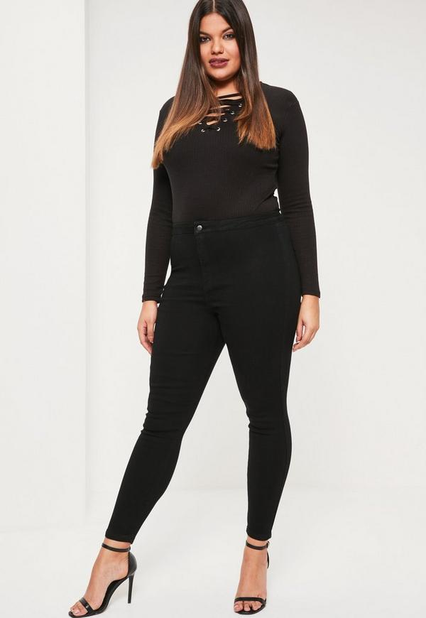 Plus Size Vice Black High Waist Jeans | Missguided