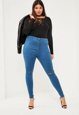 Jean skinny bleu taille haute entaillé au genoux vice grande taille