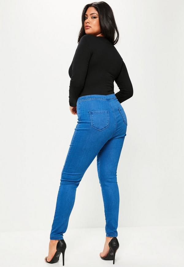 "Then you're a classic ""apple"" shape. You'll want to look for high-rise or ultra high-rise jeans to avoid the dreaded muffin top that often happens with lower rises. HOURGLASS. If Kim Kardashian can wear high-waisted jeans, so can you. Lean toward stretchy jeans that give. If you can find a contoured waistband for full coverage, grab a pair."