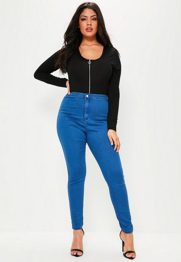Plus Size Vice Blue High Waisted Jeans | Missguided