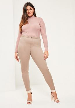 Beżowe dopasowane jeansy Vice Plus Size