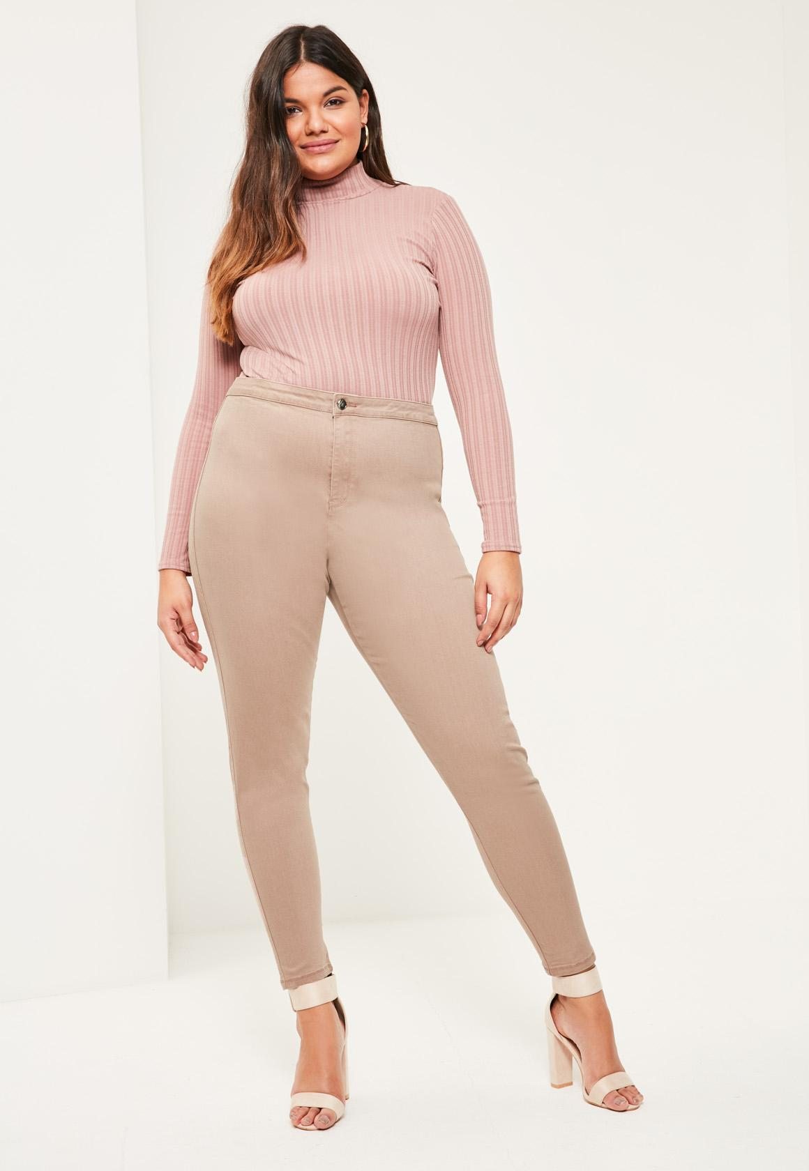 1f45f20a93aa0 Missguided - Plus Size Camel High Waisted Skinny Jeans