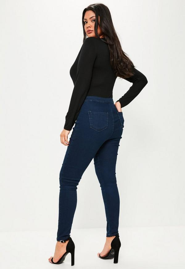 Plus Size Vice Navy High waisted Skinny Jeans | Missguided